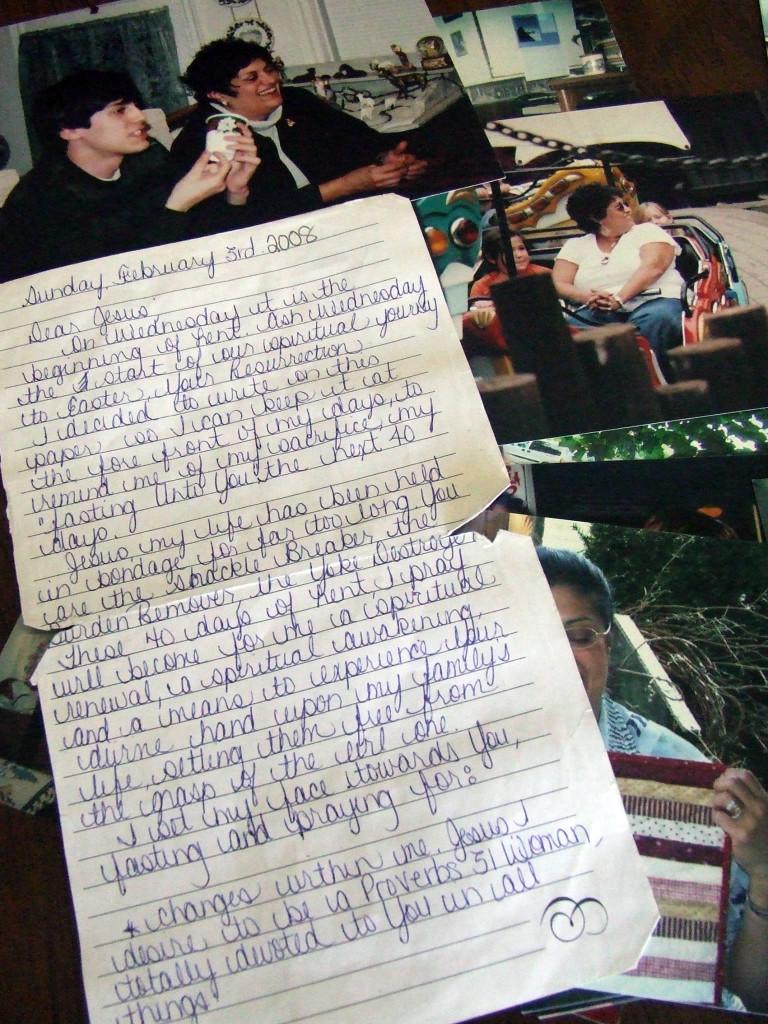 Angela's handwritten note, 2008